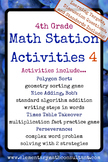 4th Grade Math Stations 4