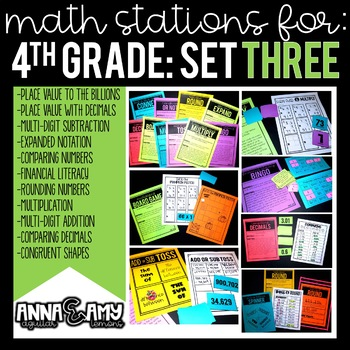 4th Grade Math Stations:  Set Three
