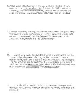 4th Grade Math Story Problems (TEK 4.4A)