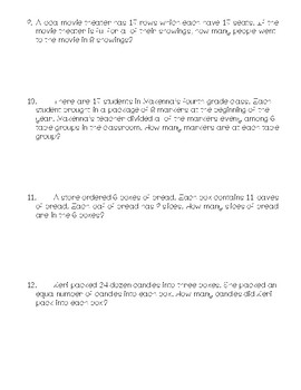 4th Grade Math Story Problems (TEK 4.4H)