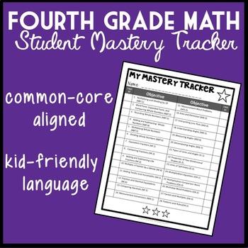 4th Grade Math Student Mastery Tracker, Common Core Aligned Self-Tracker