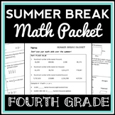 4th Grade Math Summer Break Packet, Test Prep Packet, End-of-Year Review