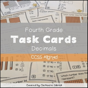 4th Grade Math Decimal Task Cards {CCSS Aligned 4.NF.C.6 & 4.NF.C.7}