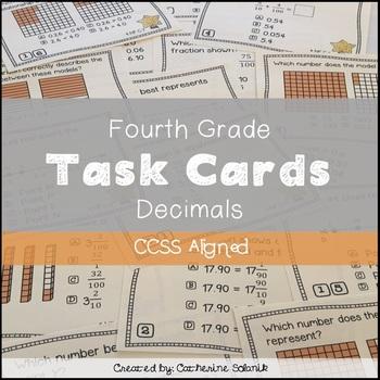 4th Grade Math Decimal Task Cards {CCSS Aligned 4.NF.C.6 &