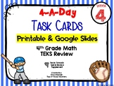 4th Grade Math TEKS: 4 A Day Review Task Cards Week 4 Goog