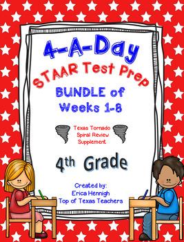 4th Grade Math TEKS: 4 A Day STAAR Prep Bundle of Weeks 1-8 (8 Weeks)
