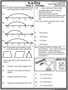 4th Grade Math TEKS: 4 A Day STAAR Prep Week 4
