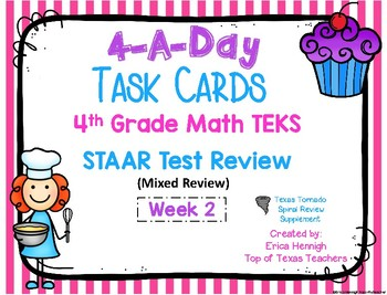 4th Grade Math TEKS: 4 A Day STAAR Spiral Review Task Cards Week 2 (Paper cards)