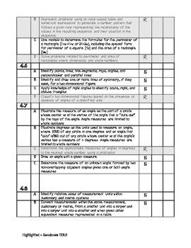 4th Grade Math TEKS Checklist