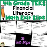 4th Grade Math TEKS Exit Slips: Financial Literacy