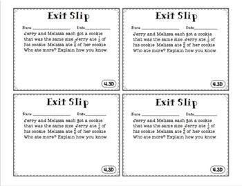 4th Grade Math TEKS Exit Slips: Fractions