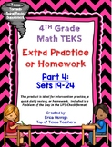 4th Grade Math TEKS: Extra Spiral Review Practice / Homework Part 4 (Sets 19-24)