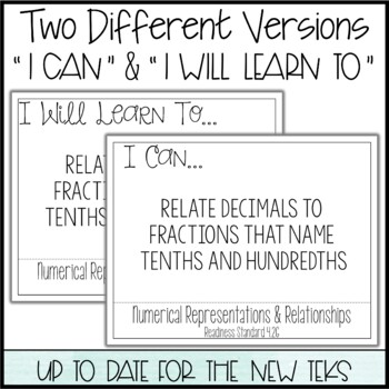 """4th Grade Math TEKS  - """"I Can"""" Statements / """"I Will Learn To"""" Posters"""