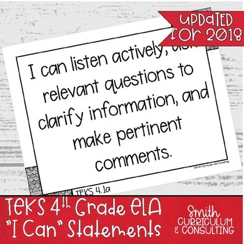"Fourth Grade ELA TEKS ""I Can"" Statements"