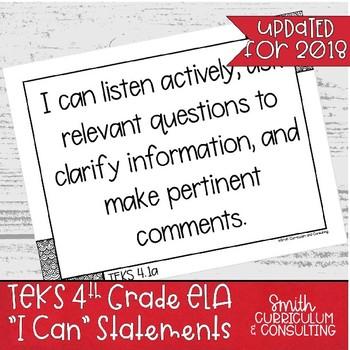 Fourth Grade ELA TEKS I Can Statements