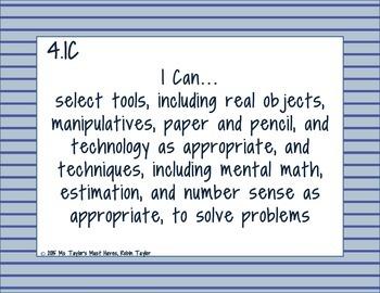 4th Grade Math TEKS- I Can Statements