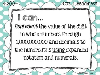 4th Grade Math TEKS Objectives- Newly Revised TEKS-I can...statement cards