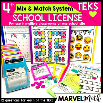 4th Grade Math TEKS Site License: Games, Exit Slips, STAAR Review, Assessments