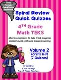 4th Grade Math TEKS Spiral Review Quick Quizzes Volume 2 (