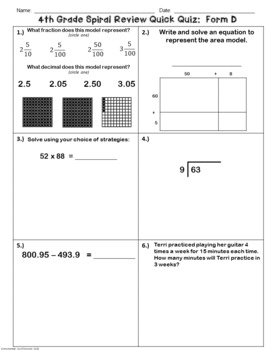 4th Grade Math TEKS Spiral Review Quick Quizzes Volume 1 (Forms A-G)