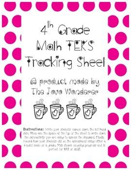 4th Grade Math TEKS Tracking Sheet
