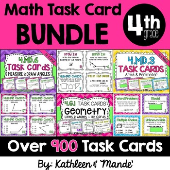 4th Grade Math Task Card BUNDLE: 30 Task Card Sets in All....900+ Task Cards