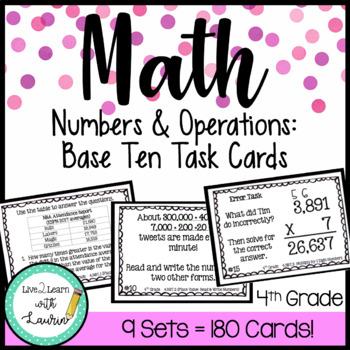 4th Grade | Math Task Card Bundle | All NBT Common Core Standards (180 CARDS)