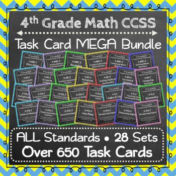 4th Grade Math Task Cards: 4th Grade Task Cards Math MEGA Bundle