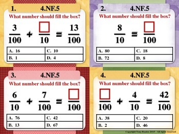 4th Grade Math Task Cards - Add & Express Fractions As Equivalent 4.NF.5