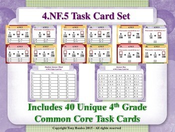 4th Grade Math Task Cards - Add & Express Fractions As Equ