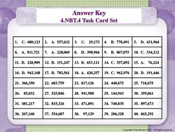 4th Grade Math Task Cards - Add and Subtract Multi-Digit Whole Numbers 4.NBT.4