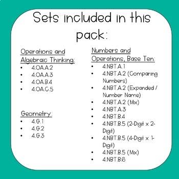 4th Grade Math Task Cards Bundle