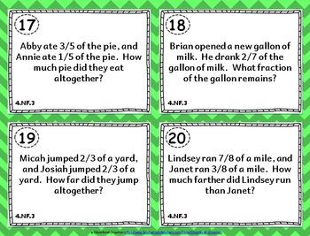 4th Grade Fraction Task Cards: ALL Fraction Task Cards 4th Grade NF, Domain 4.NF
