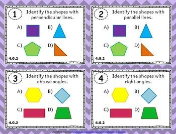 4th Grade Geometry Task Cards: Geometry Task Cards Fourth Grade Math Bundle 4.G