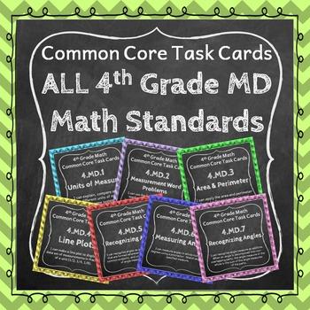 4th Grade Math Task Cards Bundle for ALL Measurement & Dat