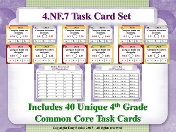 4th Grade Math Task Cards - Compare Two Decimals to Hundredths 4.NF.7