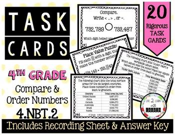 4th Grade Task Cards | Compare and Order Numbers 4.NBT.2