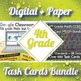 4th Grade Math Task Cards Digital and Paper MEGA Bundle: Google and PDF