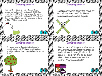 4th Grade Math Task Cards-Estimating  Products; CCSS 4.NBT.B.5