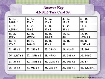 4th Grade Math Task Cards - Find Whole-Number Quotients and Remainders 4.NBT.6