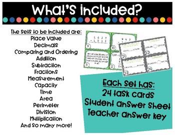 4th Grade Math Task Cards GROWING BUNDLE