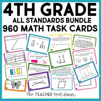 4th Grade Math Task Cards Mega Bundle   4th Grade Math Centers Bundle