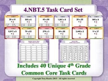 4th Grade Math Task Cards - Multiply Multi-Digit Whole Num