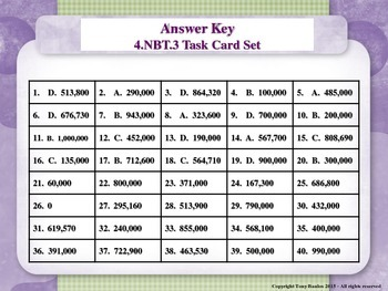 4th Grade Math Task Cards - Round Multi-Digit Whole Numbers 4.NBT.3
