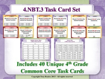 4th Grade Math Task Cards - Round Multi-Digit Whole Number