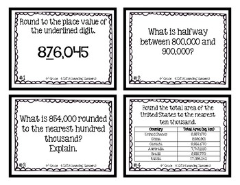 4th Grade Task Cards | Rounding Numbers Up to MILLIONS 4.NBT.3