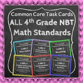4th Grade Math Task Cards Bundle for ALL Numbers and Opera