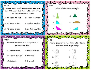4th Grade Math Task Cards for Multi-Select Response Question Practice
