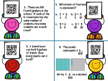 4th Grade Math Task Cards with QR Code Answers