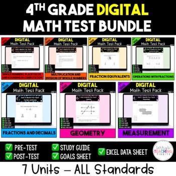 4th Grade Math Test Bundle {Paperless}